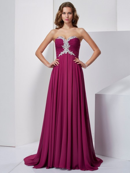 A-Line/Princess Burgundy Chiffon Sweep/Brush Train Dresses with Beading