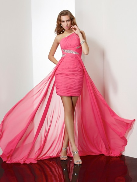 Sheath/Column Fuchsia Chiffon Short/Mini Homecoming Dresses with Beading