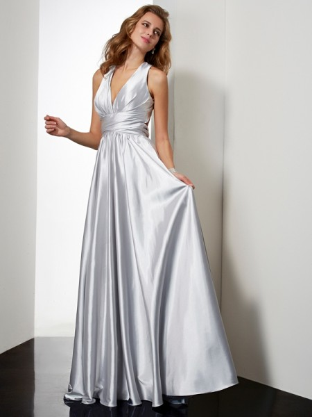 Sheath/Column Silver Elastic Woven Satin Floor-Length Dresses with Pleats