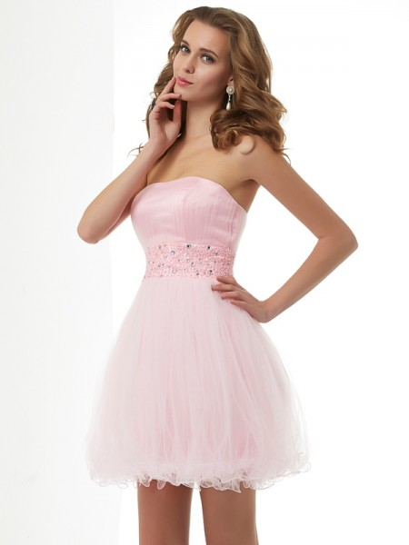 Sheath/Column Pink Elastic Woven Satin , Net Short/Mini Homecoming Dresses with Beading