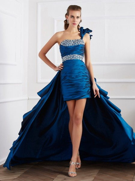A-Line/Princess Royal Blue Taffeta Asymmetrical Dresses with Beading