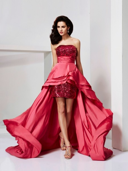 A-Line/Princess Red Taffeta Asymmetrical Dresses with Lace