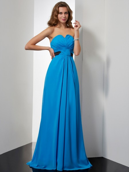 A-Line/Princess Blue Chiffon Sweep/Brush Train Dresses with Sash/Ribbon/Belt