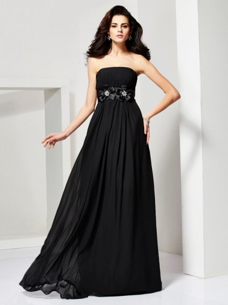 A-Line/Princess Black Chiffon Sweep/Brush Train Dresses with Hand-Made Flower