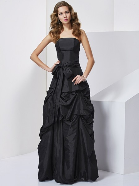 Sheath/Column Black Taffeta Floor-Length Dresses with Bowknot
