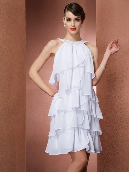 A-Line/Princess White Chiffon Short/Mini Homecoming Dresses with Beading