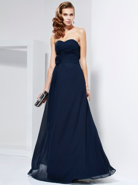 A-Line/Princess Dark Navy Chiffon Floor-Length Dresses with Hand-Made Flower