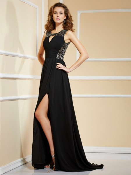 A-Line/Princess Black Chiffon Sweep/Brush Train Evening Dresses with Lace