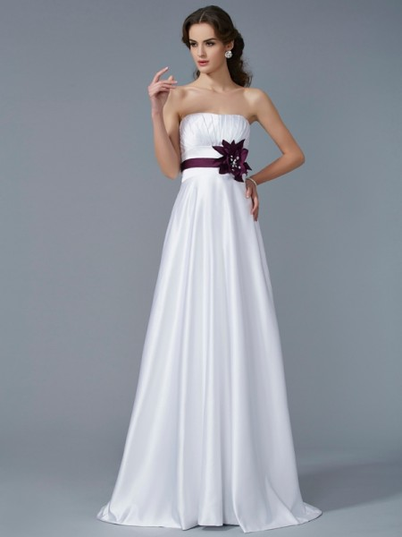 A-Line/Princess White Satin Sweep/Brush Train Dresses with Hand-Made Flower