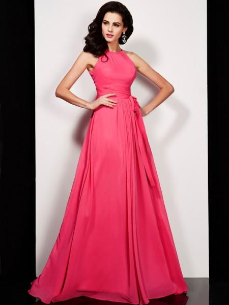 A-Line/Princess Red Chiffon Floor-Length Dresses with Sash/Ribbon/Belt