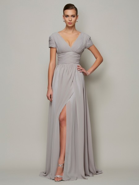 A-Line/Princess Grey Chiffon Floor-Length Mother Of The Bride Dresses with Other
