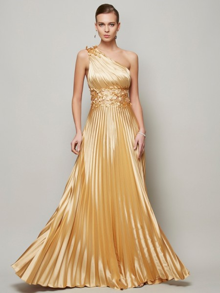 A-Line/Princess Gold Elastic Woven Satin Floor-Length Dresses with Hand-Made Flower