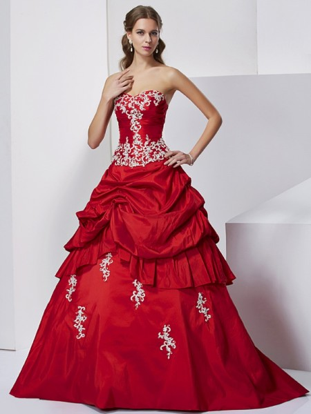 Ball Gown Red Taffeta Floor-Length Dresses with Beading