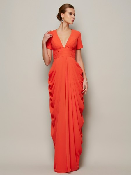 Sheath/Column Orange Chiffon Floor-Length Mother Of The Bride Dresses with Pleats