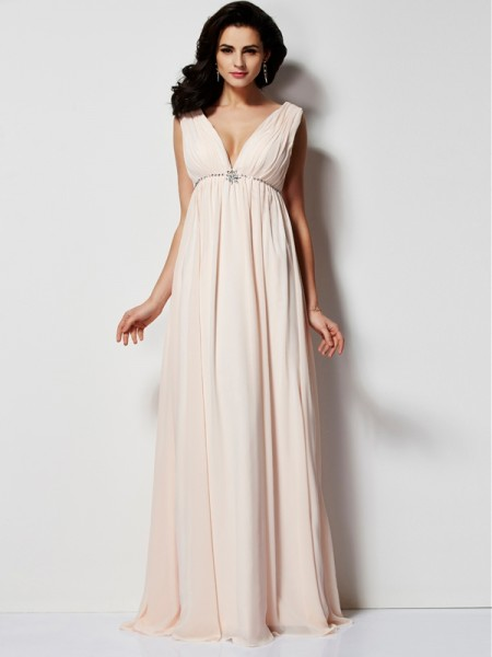 A-Line/Princess Pearl Pink Chiffon Floor-Length Dresses with Pleats