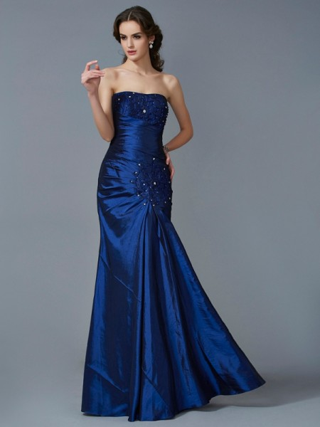 Trumpet/Mermaid Royal Blue Taffeta Floor-Length Dresses with Applique