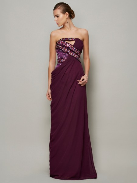 A-Line/Princess Grape Chiffon Floor-Length Dresses with Beading