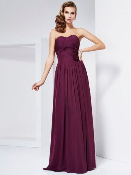 Sheath/Column Burgundy Chiffon Floor-Length Dresses with Hand-Made Flower