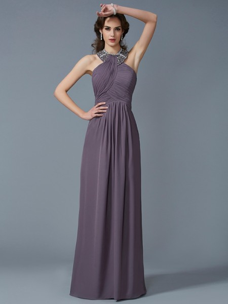 Sheath/Column Brown Chiffon Floor-Length Dresses with Beading