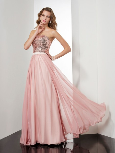 A-Line/Princess Pink Chiffon Floor-Length Dresses with Paillette