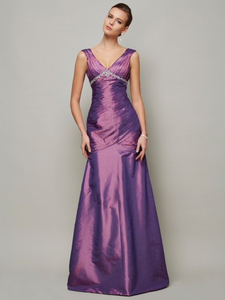 Sheath/Column Regency Taffeta Floor-Length Evening Dresses with Beading