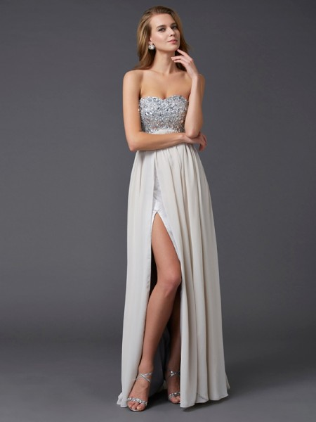 A-Line/Princess Champagne Chiffon Floor-Length Dresses with Rhinestone