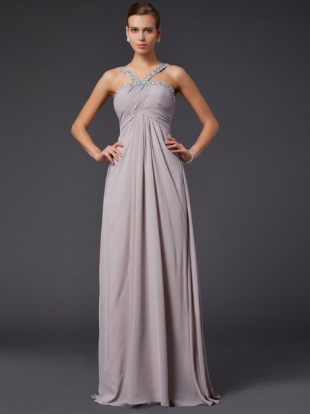 A-Line/Princess Champagne Chiffon Sweep/Brush Train Dresses with Beading