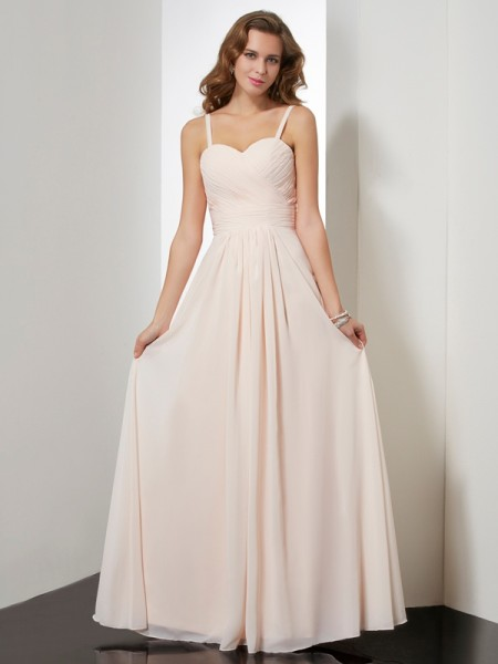 Sheath/Column Champagne Chiffon Floor-Length Dresses with Ruffles