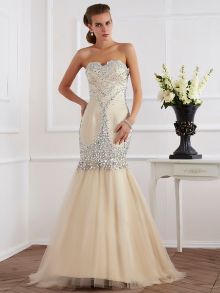 Sheath/Column Champagne Satin Sweep/Brush Train Dresses with Beading