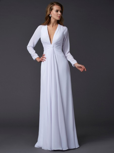 Sheath/Column White Chiffon Floor-Length Dresses with Ruched