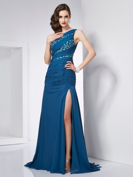 A-Line/Princess Other Chiffon Sweep/Brush Train Dresses with Beading