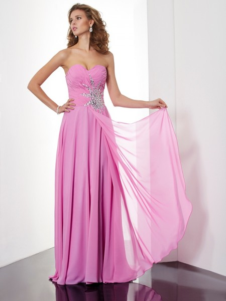 A-Line/Princess Pink Chiffon Floor-Length Dresses with Ruched