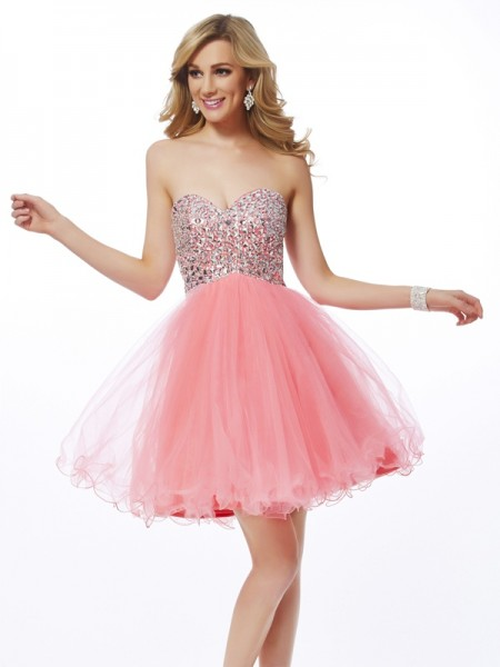 A-Line/Princess Watermelon Net Short/Mini Homecoming Dresses with Beading