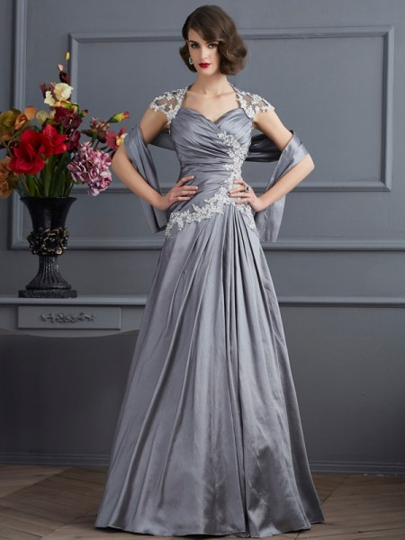 A-Line/Princess Silver Taffeta Floor-Length Evening Dresses with Beading