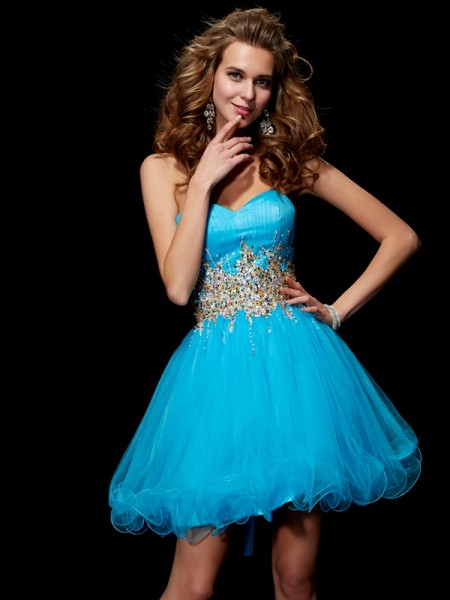 A-Line/Princess Blue Net Short/Mini Homecoming Dresses with Beading