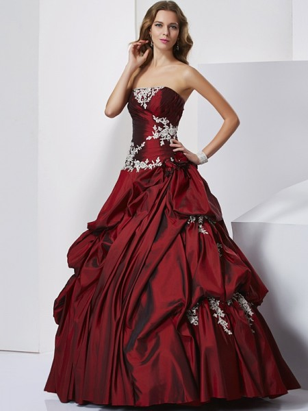 Ball Gown Burgundy Taffeta Floor-Length Dresses with Beading