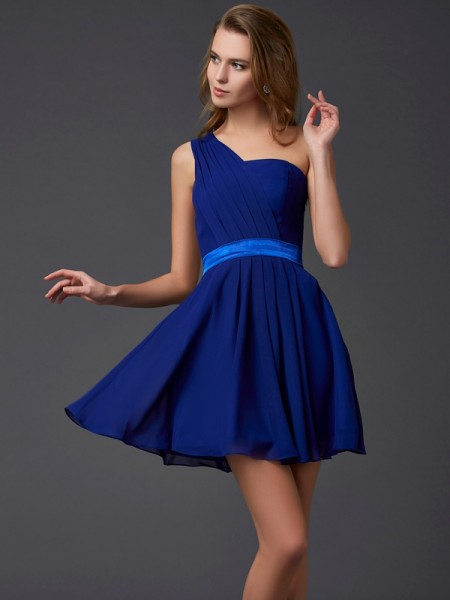 A-Line/Princess Royal Blue Chiffon Short/Mini Homecoming Dresses with Pleats