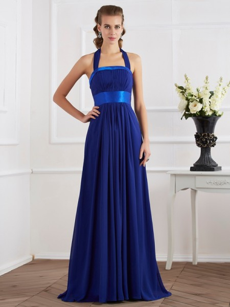 A-Line/Princess Royal Blue Chiffon Floor-Length Dresses with Ruched
