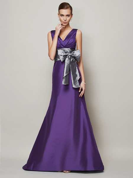 A-Line/Princess Regency Taffeta Floor-Length Evening Dresses with Sash/Ribbon/Belt