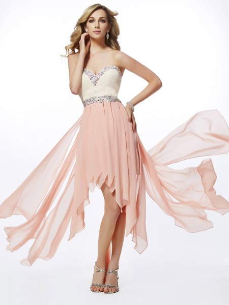A-Line/Princess Pearl Pink Chiffon Asymmetrical Homecoming Dresses with Beading