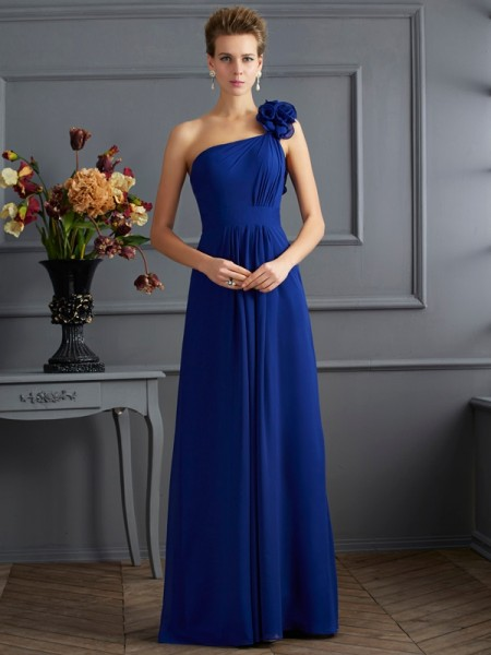 A-Line/Princess Royal Blue Chiffon Floor-Length Dresses with Pleats