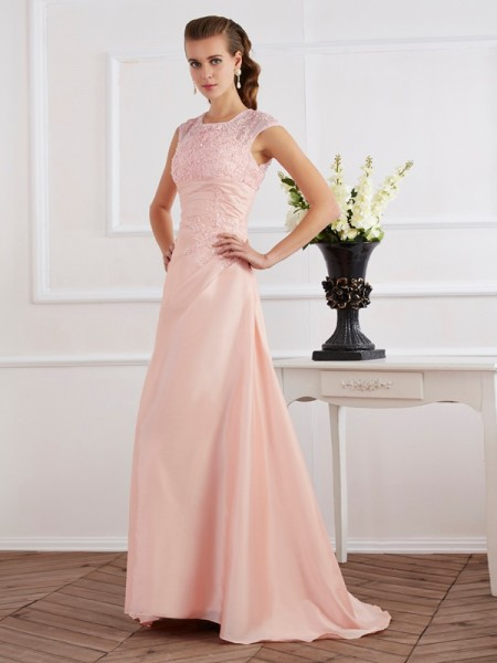 Sheath/Column Pink Chiffon Sweep/Brush Train Evening Dresses with Beading