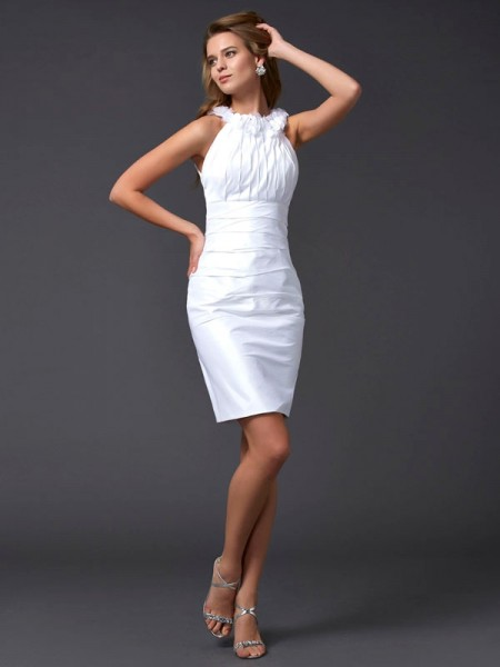 Sheath/Column White Taffeta Short/Mini Homecoming Dresses with Hand-Made Flower