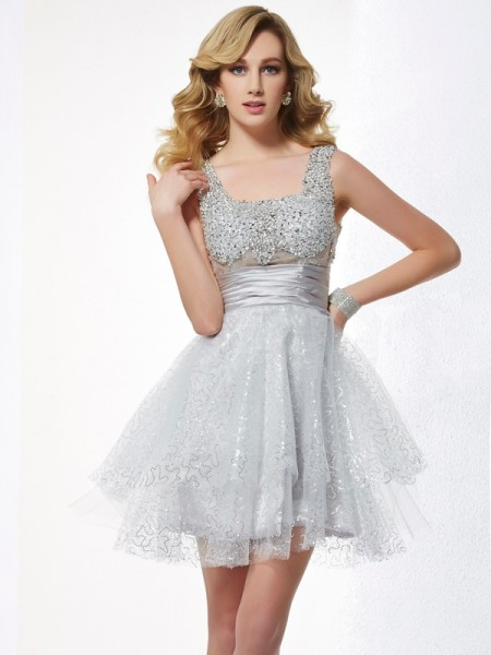 A-Line/Princess Silver Elastic Woven Satin , Net Short/Mini Homecoming Dresses with Beading