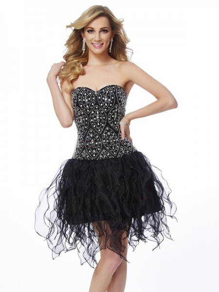 Sheath/Column Black Organza Short/Mini Homecoming Dresses with Beading