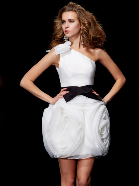 Sheath/Column Ivory Tulle Short/Mini Homecoming Dresses with Other