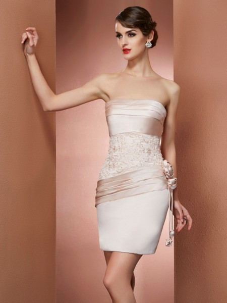 Sheath/Column Champagne Satin Short/Mini Homecoming Dresses with Hand-Made Flower