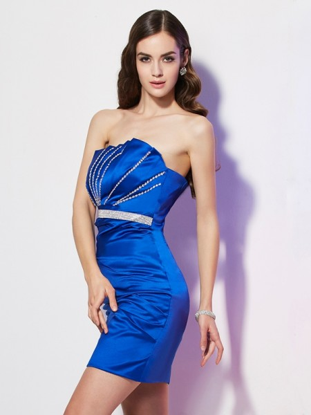 Sheath/Column Royal Blue Satin Short/Mini Homecoming Dresses with Beading