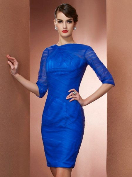 Sheath/Column Royal Blue Elastic Woven Satin , Net Short/Mini Homecoming Dresses with Pleats