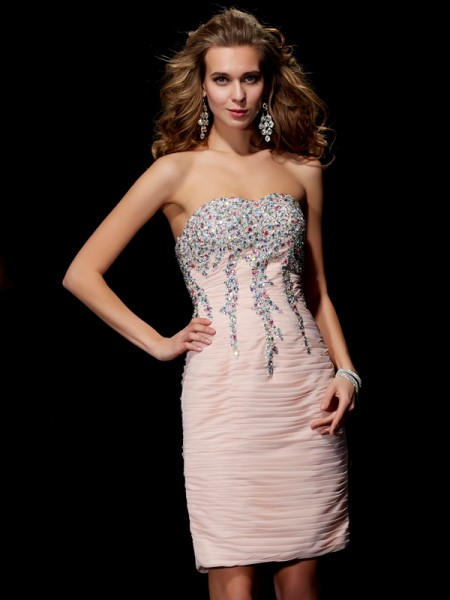 A-Line/Princess Pearl Pink Chiffon Short/Mini Homecoming Dresses with Beading